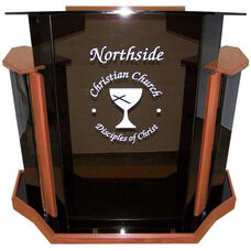 Deluxe Smoke Non-Sound Acrylic Lectern with Clear Rubber Feet - Walnut Finish - 54