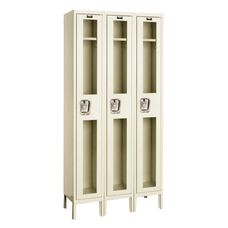 Safety Clear View Three Wide Single-Tier Locker Assembled - Parchment Finish - 36