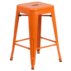 """Commercial Grade 24"""" High Backless Orange Metal Indoor-Outdoor Counter Height Stool with Square Seat"""