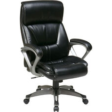 Work Smart ECH89307 Executive Eco Leather Chair with Padded Arms and Titanium Coated Base - Black