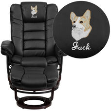 Embroidered Contemporary Black Leather Recliner and Ottoman with Swiveling Mahogany Wood Base