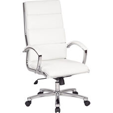 Work Smart High Back Executive Faux Leather Chair with Polished Chrome Finish - White