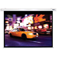 White Wall Mountable Electric Projection Screen with Matte White Fabric Screen and White Powder-Coated Aluminum Housing - 80