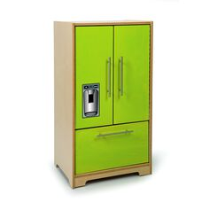 Kids Contemporary Play Refrigerator in Vibrant Green Birch Plywood