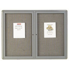 2 Door Radius Design Enclosed Bulletin Board with Gray Fabric and Medium Gray Frame - 36