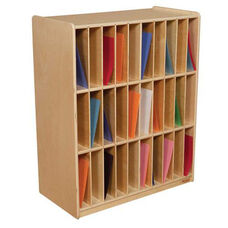 30-Slot Mail/Portfolio Center with Removable Plywood Dividers - Assembled - 30