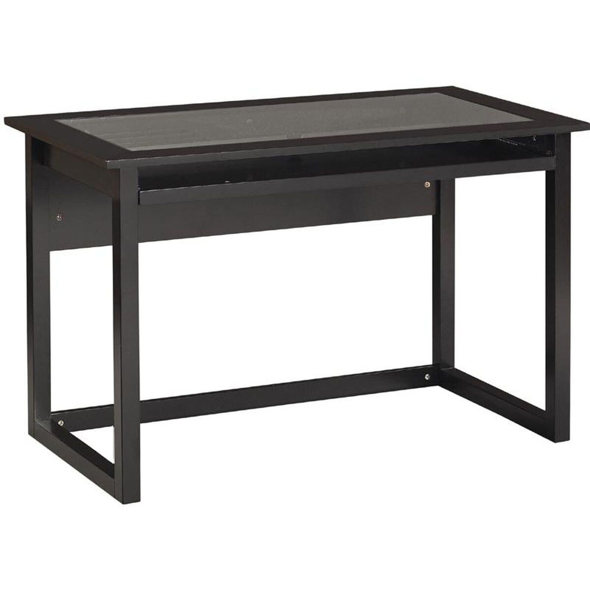 Our Osp Designs Meridian Collection Computer Desk With Tempered Glass Top And Pull Out Keyboard Tray