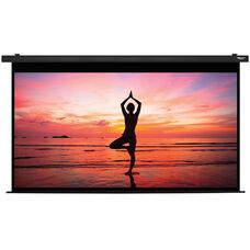 White and Black Wall Mountable Electric Projection Screen with Matte White Fabric Screen and Black Powder-Coated Aluminum Housing - 131