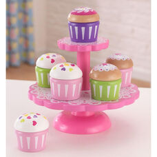 Kids Wooden Make-Believe Cupcakes with 2-Tier Stand Play Set