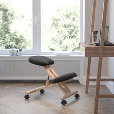 Mobile Wooden Ergonomic Kneeling Office Chair in Black Fabric