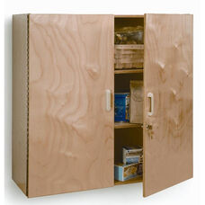 Lockable Birch Laminate Wall Cabinet with Lockable Doors
