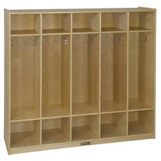 Birch Hardwood Five Section 10 Hook Straight Coat Locker with 10 Cubbies