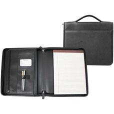 Executive Brief Padfolio with Handle - Genuine Leather - Black