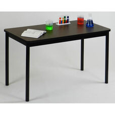 High Pressure Laminate Rectangular Lab Table with Black Base and T-Mold - Walnut Top - 24