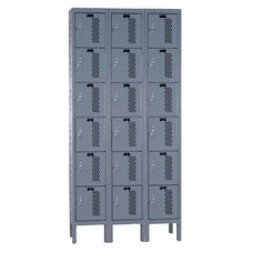 Heavy-Duty Ventilated (HDV) Three Wide Six-Tier Locker - Assembled - Dark Gray - 36