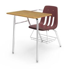 9000 Series Classic Student Combo Desk with Medium Oak Laminate Top, Chrome Frame, and Wine Chair - 24