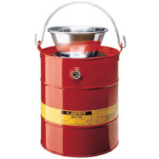 5 Gallon Liquid Drain Can with Plated Steel Funnel - Red