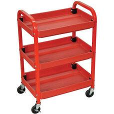 Adjustable Metal Frame 3 Shelf Mechanics Utility Cart - Red - 22