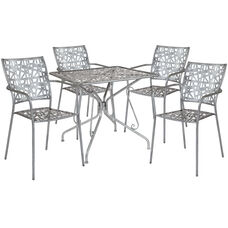"Agostina Series 31.5"" Square Antique Silver Indoor-Outdoor Steel Patio Table with 4 Stack Chairs"