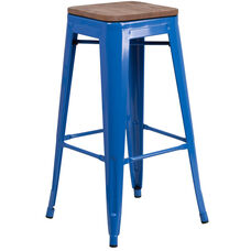 "30"" High Backless Blue Metal Barstool with Square Wood Seat"
