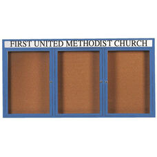 3 Door Indoor Enclosed Bulletin Board with Header and Blue Powder Coated Aluminum Frame - 36