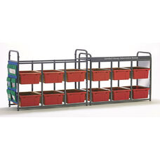 Storage Room Organizer for Leveled Literacy Program with 12 Open Tubs - Red