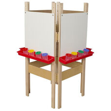 4 Sided Adjustable Board Height Marker Board Easel with Attached Trays - 25