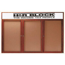 3 Door Enclosed Bulletin Board with Header and Cherry Finish - 36