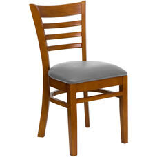 Cherry Finished Ladder Back Wooden Restaurant Chair with Custom Upholstered Seat
