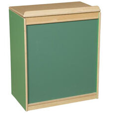 Green Apple Big Book Display and Storage with Locking Piano Hinged Top with Chalkboard on Front - Assembled - 24