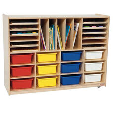 Multi-Sectioned Handy Storage Center with Twelve Multi-Colored Rectangular Storage Tote Trays - Assembled - 48