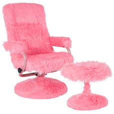 East Side Contemporary Recliner and Ottoman in Pink Fur