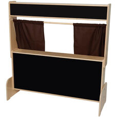 Deluxe Wooden Puppet Theater with Flannelboard and Brown Curtains - 47