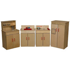 Pretend Play Healthy Kids Plywood Classic Appliances with Deluxe Hutch Set - Assembled - Set of 4