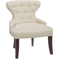 Ave Six Curves Hour Glass Velvet Accent Chair with Solid Wood Legs - Oyster