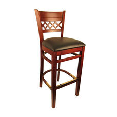 Lattice Back Barstool with Dark Mahogany Finish and Black Vinyl Seat