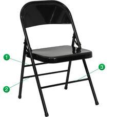 HERCULES Series Triple Braced & Double Hinged Black Metal Folding Chair