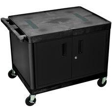 Endura 2 Shelf Mobile A/V Cart with Locking Cabinet - Black - 32