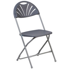 HERCULES Series 650 lb. Capacity Charcoal Plastic Fan Back Folding Chair