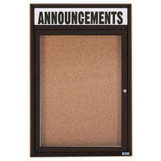 1 Door Indoor Enclosed Bulletin Board with Header and Black Powder Coated Aluminum Frame - 36
