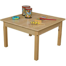 Solid Hardwood Square Table with Rounded Child Safe Corners and Non-Toxic Natural Finish - 30