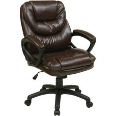 Work Smart Faux Leather Managers Chair with Padded Loop Arms - Chocolate