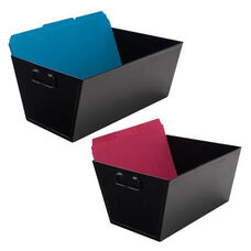 Advantus Open Top Steel File Desktop Storage Bins with Handles - Black
