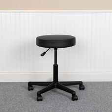 HERCULES Series Black Backless Medical Doctor Stool with Antimicrobial / Antibacterial Vinyl, Molded Foam Seat and Nylon Base