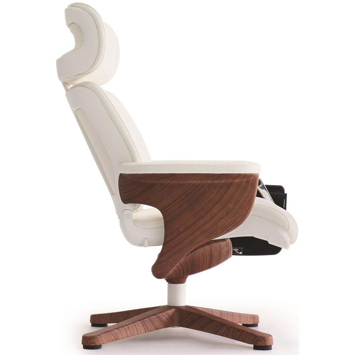 Our Nuvem Leather Office Chair With Footrest And Built In Laptop Holder White Teak