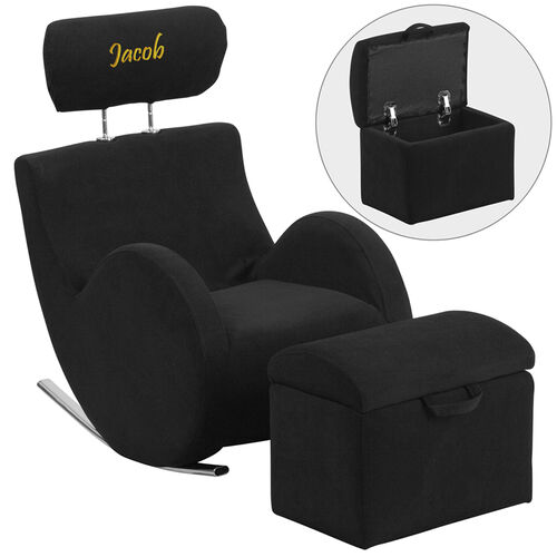 Our Personalized HERCULES Series Black Fabric Rocking Chair with Storage Ottoman is on sale now.