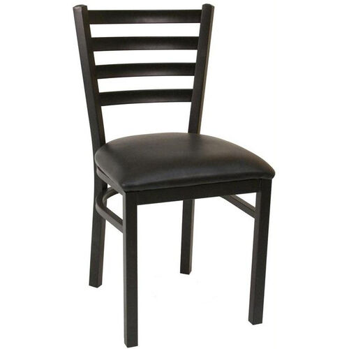 Our Quick Ship Thick Ladder Back Armless Dining Chair - Black Vinyl Seat is on sale now.