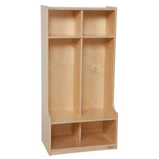 2-Section Offset Locker with Two Coat Hooks in Each Section - Assembled - 24