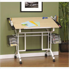 Pro Maple and Steel Craft Station with Removable Storage Trays - White