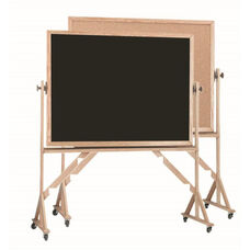 Reversible Free Standing Black Chalkboard and Natural Pebble Grain Cork Combination Board with Red Oak Frame